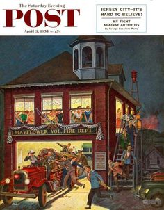 Image result for vintage firehouse prints Norman Rockwell Art, Saturday Evening Post, Fire Department, Fire Dept, Retro Art, Vintage Prints, Vintage Artwork, Figurative Art, Illustration Art
