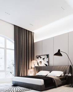 A peaceful black, white and brown bedroom! To see more inspiring bedroom, visit…