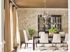 Transitional Cream Dining Room with Grass-Cloth Ceiling