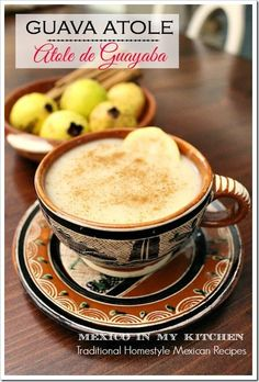 Guava Atole | 4 cups whole milk* 1/2 cup sugar 1 cinnamon stick 8 Tablespoons corn flour (masa-harina) 2 cups water, divided 2 1/2 cups of Guavas cut in half, about 10 guavas, (1-1/2 cup Guava puree) **