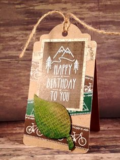 Tag card created by Nicky for Craftwork Cards with The Great Outdoors collection and kraft card leaf