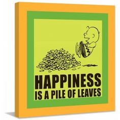 Marmont Hill Happiness is a Pile of Leaves Peanuts Print on Canvas, Size: 24 inch x 24 inch, Multicolor