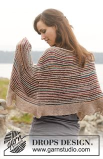 """Knitted DROPS shawl in garter st with stripes in """"Fabel"""". ~ DROPS Design"""