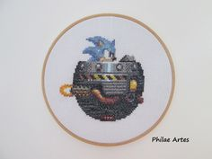 Cross Stitch Embroidery Hoop from Sonic - The Hedgehog 3 - Master System - Game - Videogame - geek nerd stuff crafty craft