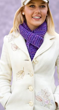 Personalize a fall jacket with the light and airy embroidery designs from Autumn Contours