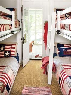 flag-decor-July 4-beds-bunk-boys