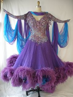 VINTAGE 1980s Ballroom Dancing Dress Purple.