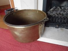 Wonderful Large French Brass Cauldron / Planter / Log Store / General Storage with central carry handle Circa 1920 Superb! by VintageFoggy on Etsy
