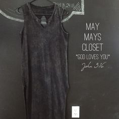 """LOWEST! SALE Free People Straight Column Maxi XS Free People, We the Free """"Straight Column Maxi"""" in distressed/washed black. Has faded, bleached look. Has high slits on both sides and keyhole back. Good condition ***HAS perfume smell***. Size XS ***My items are from a smoke free home but I do have an indoor dog... If you have pet allergies please be advised that item comes from a home with indoor pets*** Thank you! Free People Dresses"""