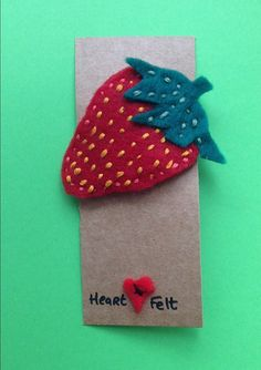 Handmade Felt Strawberry Hair Clip or Brooch by HeartFeltPressies Strawberry Hair, Felt Hair Clips, Name Banners, Handmade Felt, Felt Hearts, Brooch, Unique Jewelry, Projects, Etsy