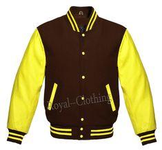 Letterman Baseball Varsity Jacket in Brown Wool Genuine Yellow Leather Sleeves Royal Shop, Leather Sleeves, Royal Clothing, Yellow Leather, Online Price, Royals, Quilt, Pocket, Wool