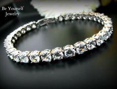 Wedding Bracelet Bridal Bracelet Cubic Zirconia Tennis Bracelet Round Cut Bride Bracelet Wedding Jewelry Bridesmaid Gift Bridal Accessories