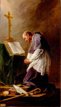 """The key to love of God is prayer. """"By turning your eyes on God in meditation, your whole soul will be filled with God. Begin all your prayers in the presence of God."""" - St. Francis de Sales"""