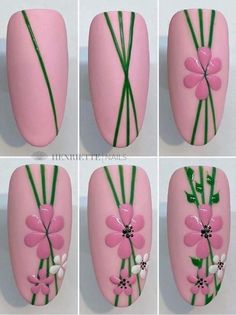 Daisy Nail Art, Daisy Nails, Floral Nail Art, Cute Nail Art, Flower Nails, Nail Flowers, Diy Acrylic Nails, Art Nails, Nail Art Machine