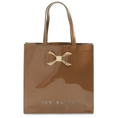 Ted Baker London 'Large Glitter Bow Icon' Tote ($39) ❤ liked on Polyvore featuring bags, handbags, tote bags, gold color, handbags & purses, man bag, bow tote, tote handbags and brown handbags