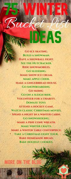 75 Winter Bucket List Ideas   Christmas Activities   Christmas   Winter Activities   #winter   #christmas via @myhomebasedlife