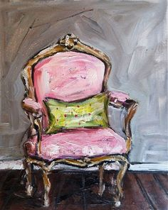 Chair Painting oil still life PINK by DevinePaintings on Etsy, $78.00