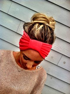 The Sparrow Headband Wide Stretchy Jersey Hair Band Ruched with Fabric Wrap in Melon Coral