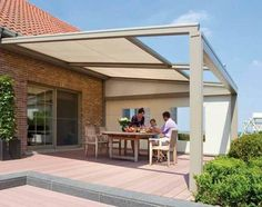 Lagune shade structure with operable translucent, waterproof fabric roof that retracts completely. Enclose sides with motorized shades.