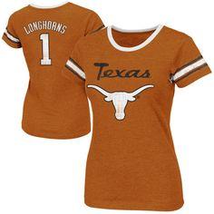 Texas Longhorns Womens Galaxy II Slim Fit T-Shirt – Burnt Orange ($26) ❤ liked on Polyvore featuring tops, t-shirts, orange, t shirts, destroyed t shirt, burnt orange shirt, graphic tees and ripped t shirt