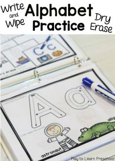Write and Wipe Write & Wipe Alphabet Practice pages -- my kids will love this!Write & Wipe Alphabet Practice pages -- my kids will love this! Preschool Literacy, Preschool Letters, Learning Letters, Preschool Writing Centers, Alphabet Writing Practice, Learning To Write, Writing Alphabet Letters, Preschool Binder, Uppercase Alphabet