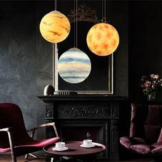 Milky Way – Galaxy Pendant Lamp – Galaxy Art Galaxy Projects, Planet Design, Wooden Lanterns, Lumiere Led, Star Pendant, Pendant Lamps, Led Chandelier, Fantastic Art, Light Art
