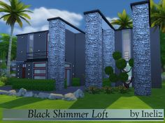The Sims Resource: Black Shimmer Loft by Ineliz • Sims 4 Downloads
