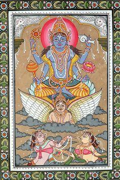 Lord Vishnu Sets out to Inspect the Universe Patachitra Folk Art from the Temple Town of Puri (Orissa) Tussar Silk Fabric (via Exotic India) Indian Traditional Paintings, Traditional Art, Indian Paintings, Spiritual Images, Spiritual Life, Krishna Art, Hare Krishna, Hindu Deities, Hinduism