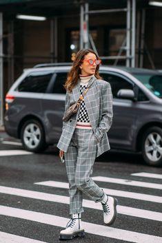 check suit for women, chic power suit, suit street style, edgy suit outfit idea