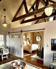 I love the barn sliding door, maybe going to the backyard rather than a room =)