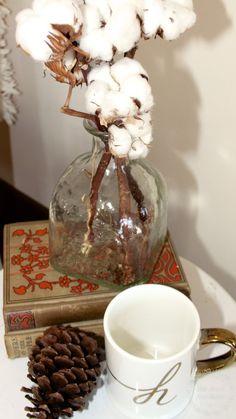 cozy winter decor - cotton branches