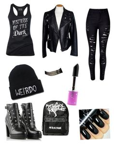"""""""gone goth"""" by fashionlover208 on Polyvore featuring Aesop, Alexander McQueen, Diesel, Lime Crime, women's clothing, women, female, woman, misses and juniors"""