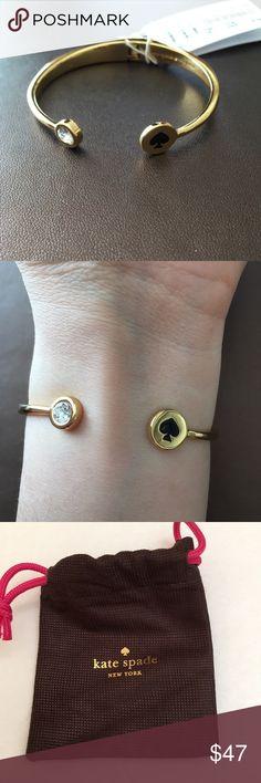 Kate Spade Spot the Spade open Bangle Gold plated open hinge bracelet with black enamel spade and crystal  Dust bag jncluded kate spade Jewelry Bracelets