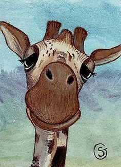 Giraffe Nfac Watercolor Art ACEO Giclee Signed Print Smile Smiling Goeben   eBay