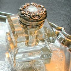 Inkwell, heavy crystal block with sterling lid, love old silver, it makes such a statement