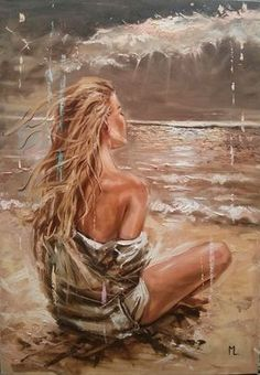 """"""" UNKNOWN PLACES ... """"- LARGE SIZE SEA SAND liGHt  ORIGINAL OIL PAINTING, GIFT, PALETTE KNIFE by Monika Luniak"""