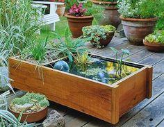 teich eimer wassergarten selbermachen holzkasten