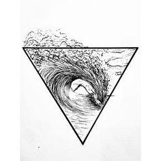 Surf Tattoo. California. Surfer soul. Geometric. Triangle. Wave.