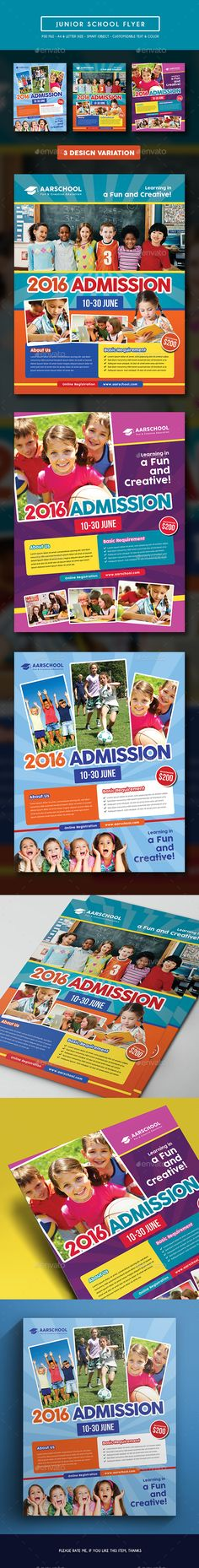 Junior School Flyer — Photoshop PSD #pamphlet #kid • Available here → https://graphicriver.net/item/junior-school-flyer/15249605?ref=pxcr