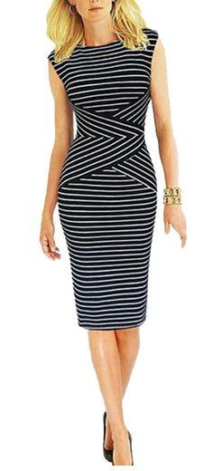 *BAIMIL Женщины Полосатый Пышная лето носить на работу вскользь партии платье карандаша: Amazon моды