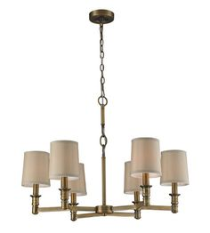 ELK 31266/6 Baxter 6 Light 29 inch Brushed Antique Brass Chandelier Ceiling Light #LightingNewYork