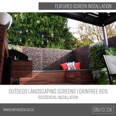 We supply the OUTDECO range of outdoor privacy screens. OUTDECO screens allow you to create beautiful, private spaces in your outside living area. Privacy Screen Outdoor, Garden Screening, Outdoor Sofa, Outdoor Decor, Outside Living, Composite Decking, Deck Furniture, Outdoor Landscaping, Porch Swing