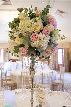Vintage Wedding Flowers, Pink Wedding Theme, Blush Wedding Flowers, Wedding Table Flowers, Wedding Table Decorations, Green Wedding, Blush Wedding Centerpieces, Flower Centerpieces, Marie