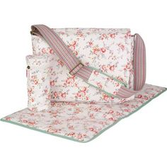 Cath Kidson - Our pretty Bleached Flowers nappy bag will help you keep all your baby essentials together in one place. Contains handy changing mat and insulated bottle cover as well as plenty of pockets for all those little extras.  Completed in our practical, wipe clean oilcloth.