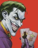 Cross Stitch Chart of The Joker with cards on red background
