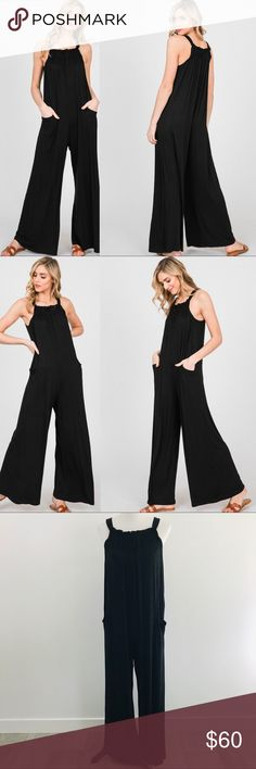 ca9ac62b41 ... Jumpsuit This solid Rayon Spandex jumpsuit has a relaxed fit for you to  dress up or go casual. It features a square neck with gathered detail in  front ...