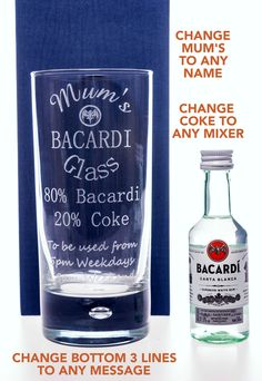 Engraved BACARDI Hi Ball + Miniature