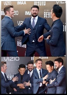 Chris Pine, John Cho and Karl Urban at the Star Trek Beyond premier being all funny and stuff