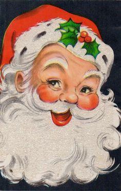 Vintage Santa. Retro Santa. Vintage Christmas Card. Retro Christmas Card. Santa & Holly.