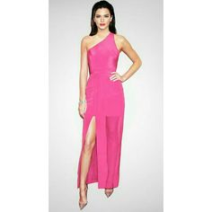 Rose Pink Bandage Evening Gown Kendall Jenner killed it! Very classy and has the perfect color for an all pink party or breast cancer awareness event. The outside lining is a rose pink sheer fabric. The bust area is lined with an elastic for support.   The bandage color is a darker bubblegum pink. Worn once for a photoshoot (pic #4 is the actual ambassador in the dress) . Has been cleaned, there are no signs of wear, & its ready to ship.   The Fabric of Celebrities: 100% Authentic Bandage…